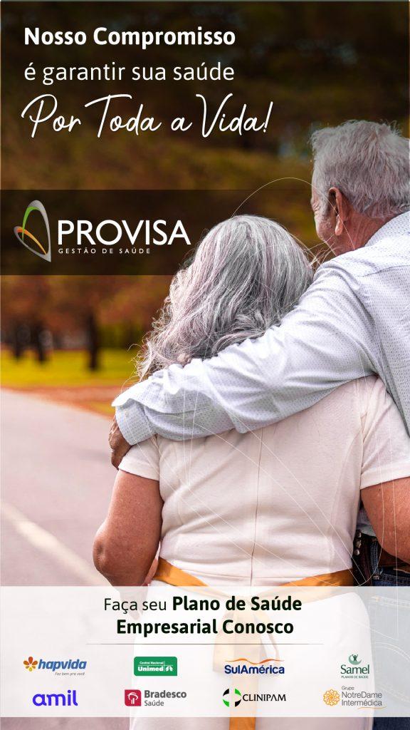Casal de idosos se abraçando com a mensagem da provisa